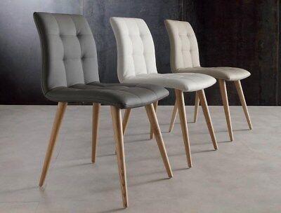 2 Sedie In Legno Massello Tinto Seduta/schienale Ecopelle Softxsoggiorno 130 Originale Al 100%