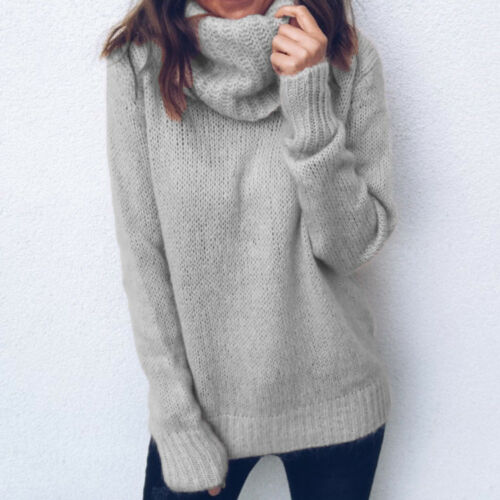 Women Winter Warm Turtleneck Chunky Knitted Sweater Thick Pullover Jumper Tops