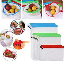 15Pcs Reusable Mesh Produce Bags Grocery Fruit Vegetable Storage Shopping DE
