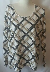 Kim-Rogers-Womens-Top-Size-XL-Multicolor-Check-Long-Sleeve-Scoop-Neck
