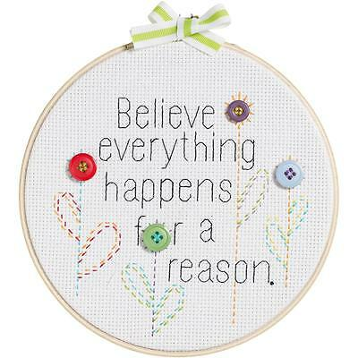 Bucilla My 1st Stitch BELIEVE EVERYTHING HAPPENS Counted Cross Stitch Kit WORDS