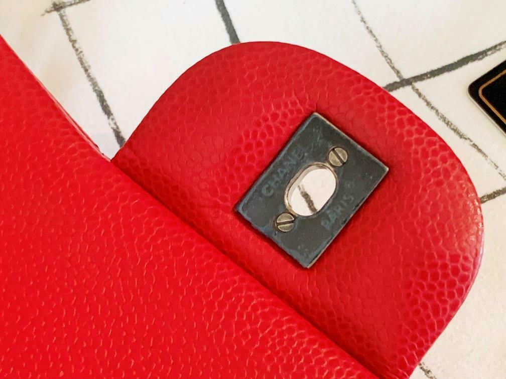 Authentic Chanel Classic Jumbo Red Caviar Double … - image 9