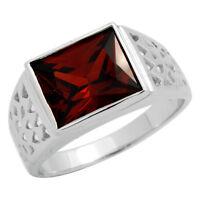 925 Sterling Silver 11mm X 9mm Synth. Red Garnet Cz Men's Ring Fine Grade Stone