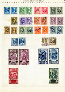 Italy-Stamps-33x-Early-1900-039-s-mint-used-Revenues-on-page