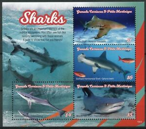 GRENADINES-GRENADA-2019-neuf-sans-charniere-requins-Remora-Shark-4-V-M-S-ANIMAUX-MARINS-TIMBRES