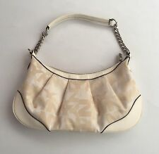 VTG New York And Company Hand Bag All Over Print Off White/ Beige Color