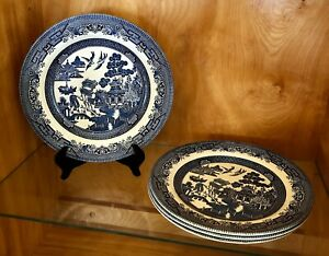 CHURCHILL-England-WILLOW-BLUE-Pattern-10-1-4-034-DINNER-PLATES-Set-of-4-Excellent