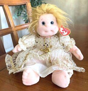 "TY Beanie Kids Precious 10"" Plush Doll Gold Dress Ty Gear May 15, 1993 Tag"