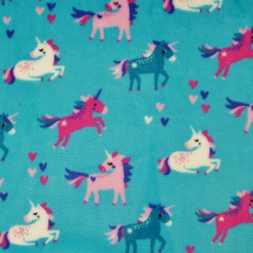 Super Soft Cuddle Fleece Unicorns and Hearts 147cm Wide Material