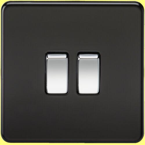 Switches etc Full Range Chrome Rockers Matt Black Screwless 13A Sockets