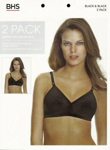 BHS 2 Pack Bras Bra Cotton Rich Black Crossover Smooth Full Cup Non Wired