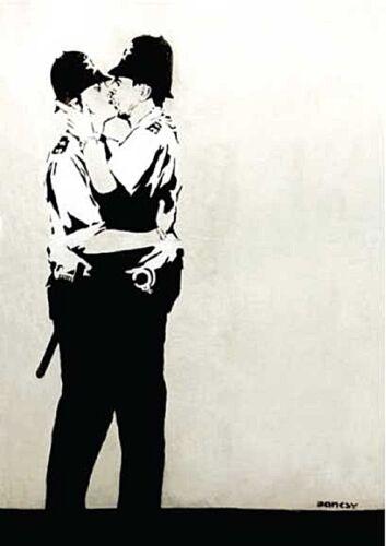 BANKSY POLICE Kissing full metal wall sign 380 mm x 280 mm (2 F)