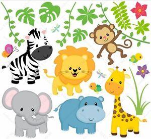 Wandsticker safari l we giraffe zebra affe elefant kinderzimmer wandtattoo ebay - Wandsticker elefant ...