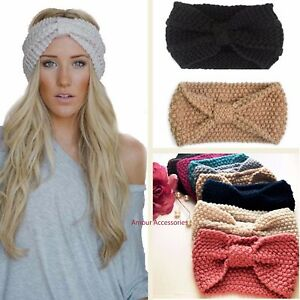 686eb4a1e53 UK Women s Winter Knitted Ear Warmer Knot Headband Crochet Bow Wool ...