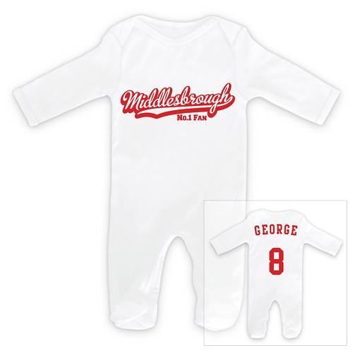 Middlesbrough Fußball personalisiert Baby Schlafanzug