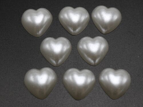 100 Blanco Puro Acrílico Half Flatback corazón del grano de Perla 12X12mm Scrapbook Craft