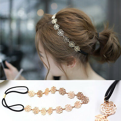 Womens Elegant Metal Chain Jewelry Rose Flower Elastic Headband Hair Accessories