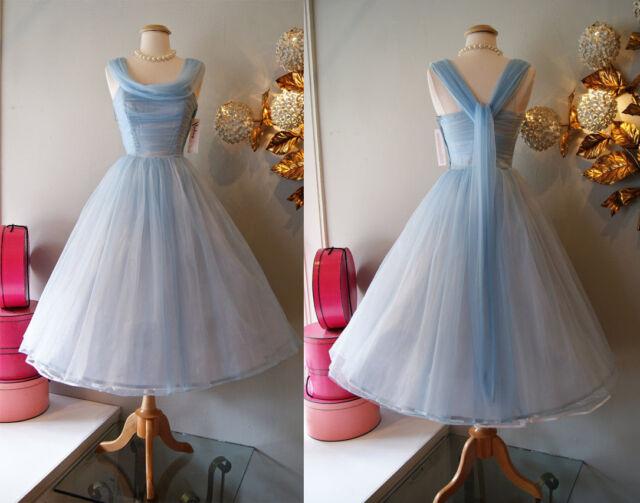 2018 Short Vintage Tulle Evening Dresses Tea Length Cinderella Party ...