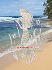 Oval 10x16 White MERMAID WINDOW DECAL Tropical Sliding Glass Shower Door Clings