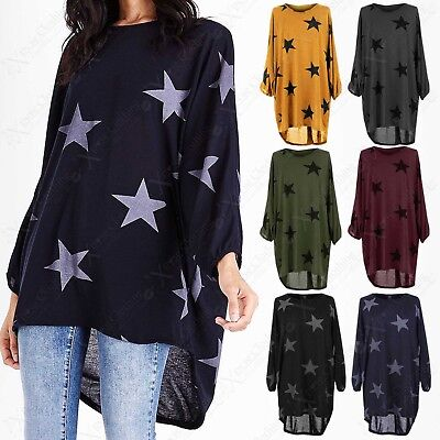 Plus Womens Oversized Star Print Long Top Ladies Batwing Loose Hi Lo Hem Jumper