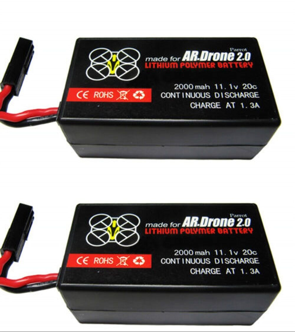 2 x 2000mAh Battery For Parred Parred Parred AR Drone 2.0 6c7000