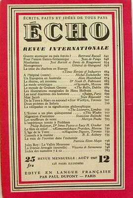 Hartig Echo N°12 - 1947 - Revue Internationale - Manhattan - Montgomery - Max Jacob