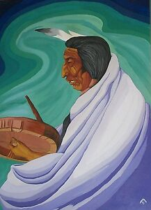 Details about LEE JOSHUA OA NATIVE AMERICAN INDIAN ART PAINTING TRIBAL DRUM  CIRCLE POWWOW 1973