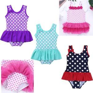 Baby Girls Polka Dots Bow Swimsuit Swimwear Bathing Surf Suit
