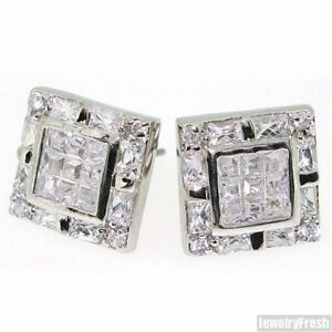 d0f12cd2f Fancy Invisible Set Tri Cut Cubic Zirconia Square Stud Earrings | eBay