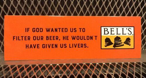 BELLS BREWERY Michigan ~ 3 X 9 ~ GOD Livers Filter ~ Craft Beer Sticker Sign