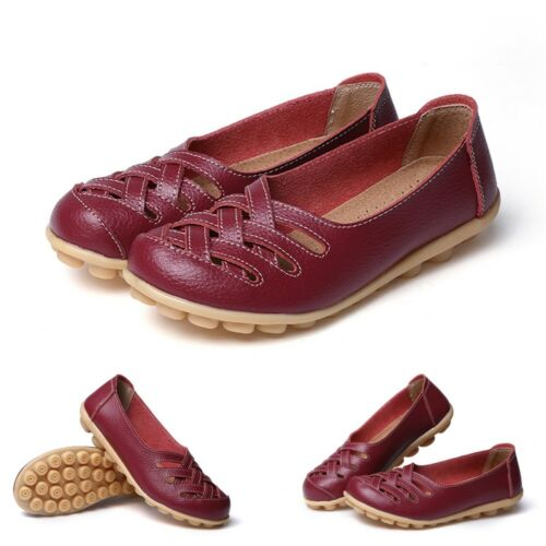 UK Women Ladies Slip On Leather Comfy Work Summer Casual Loafers Shoes Sizes 3-9