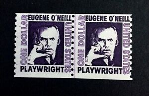 US-Stamps-Scott-1305c-F-VF-M-NH-1973-Joint-Line-Pair-of-Eugene-O-039-Neill