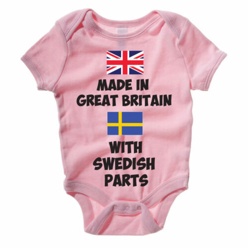 MADE IN GREAT BRITAIN WITH SWEDISH PARTS Baby Grow Sweden Body Suit Vest