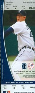2010 Tigers vs Yankees Ticket: Phil Houghes win/Brett Gardner 3 hits