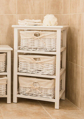 Brand New White Shabby Chic 3 Tier Wicker Storage Unit Drawers Bedside
