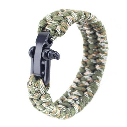 Survival Tactical Bracelet Outdoor Paracord Scraper Whistle Flint Fire Gear kit