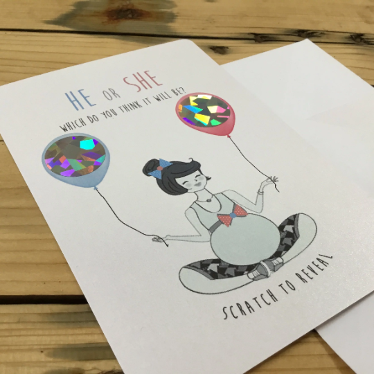 Baby Reveal Card. Scratch off baby sex Hidden Words card. Baby Reveal Announce