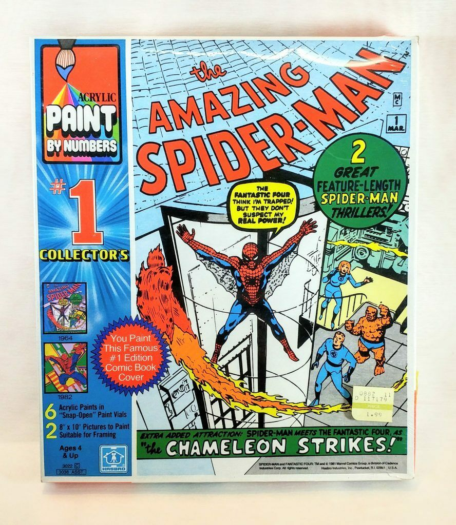 NOS 1981 Plastic Sealed Spider-Man Acrylic Paint By Numbers 6 Paints 2-8×10 Pics