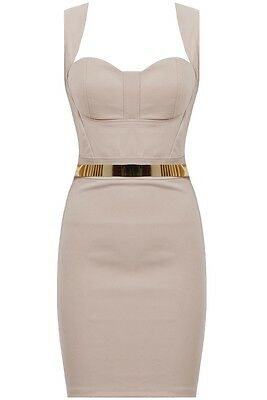 New Cut Out Back Gold Belted Bandeau Bodycon Evening Party Dress UK 8 10 12 14
