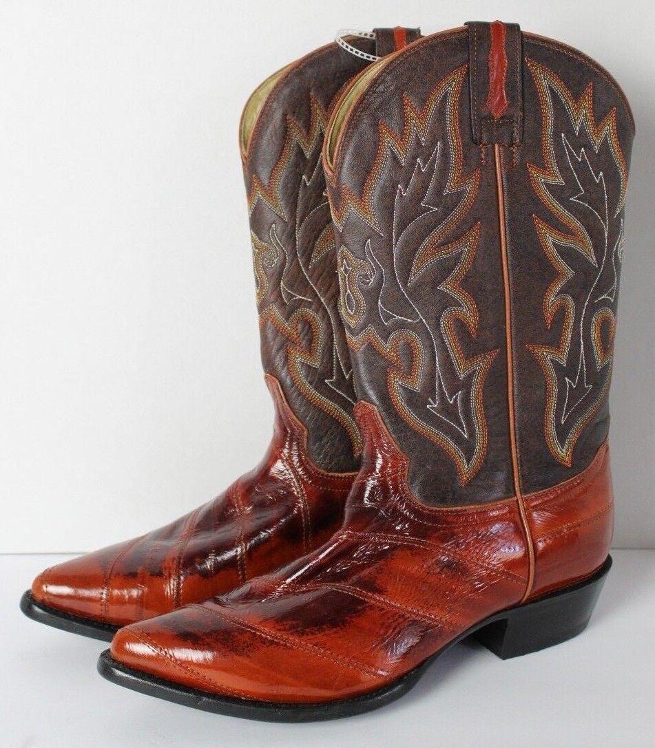 Para Hombre botas Rodeo Bravo eelskin occidental Marrón US 9.5 Mex 28.5 Nuevo