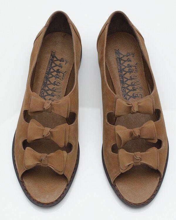 NEUF F-Troupe Marron Noeud Daim Orteil Sandales Chaussures Flats 37 UK4