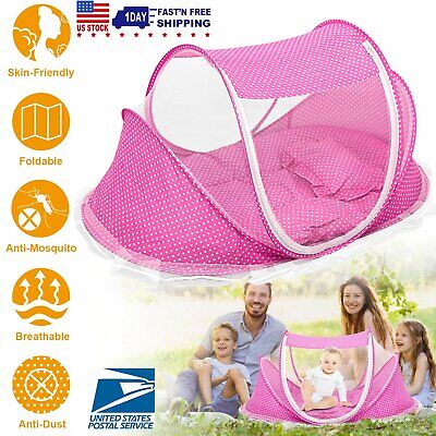 Baby Travel Zipper Bed Portable Netting Tent Mosquito Net Safe Cots Pop Up Anti Mosquitoes Cribs Outdoor Mesh Bed Folding Bedding Tent for Home Beach Blue 0-24 Months