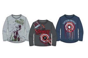 Marvel-Avengers-Langarmshirt-Jungen-Gr-116-128-140-152-Hulk-Cap-America-Neu-OVP
