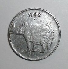 India 25 paise, Rhinoceros, animal wildlife coin