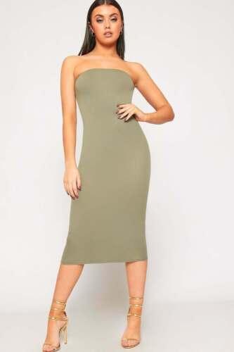 Womens Plain Boob Tube Strapless Stretch Bodycon Long Ladies Midi Party Dress