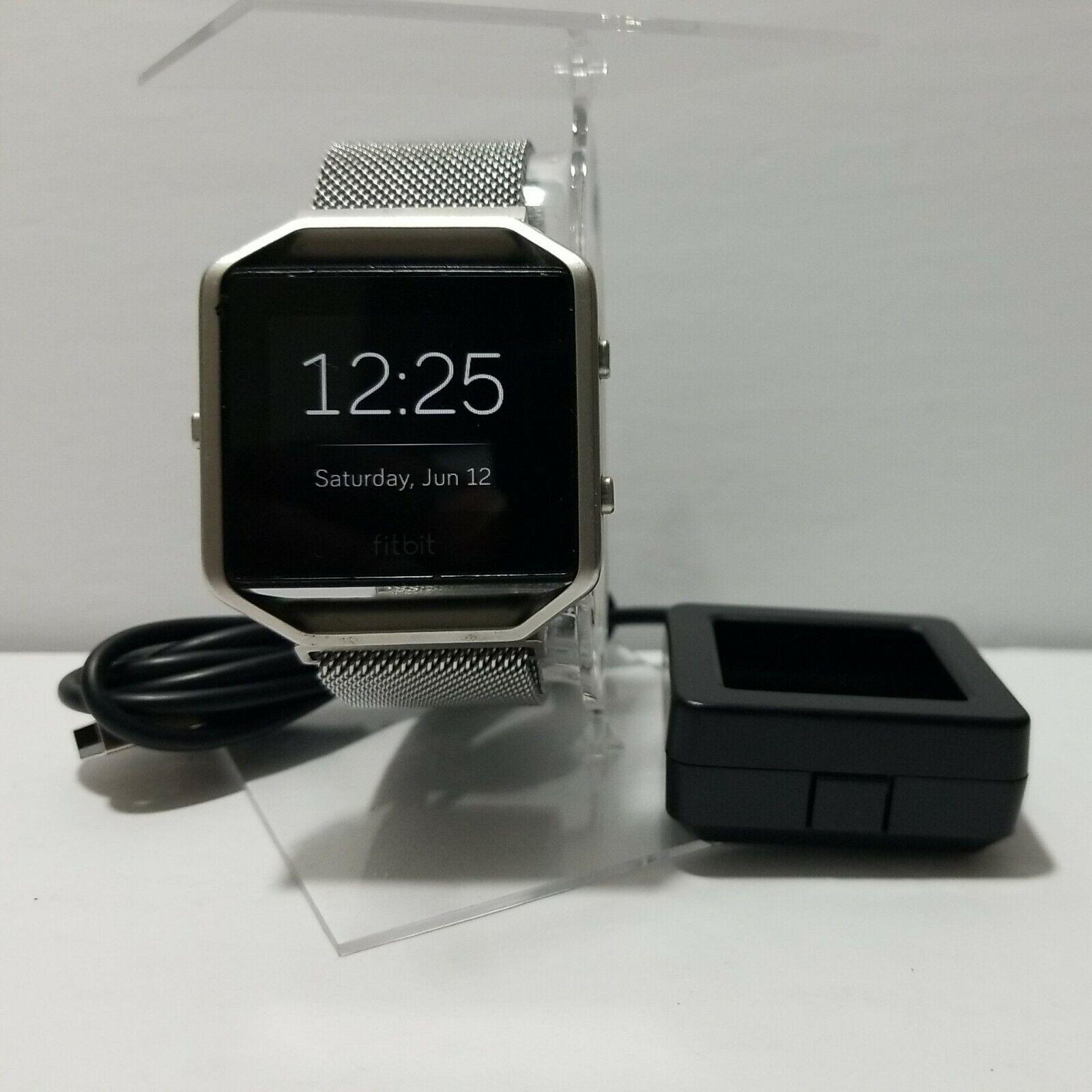 Fitbit Blaze Smart Fitness Watch Activity Tracker. Silver Metallic Band. Small