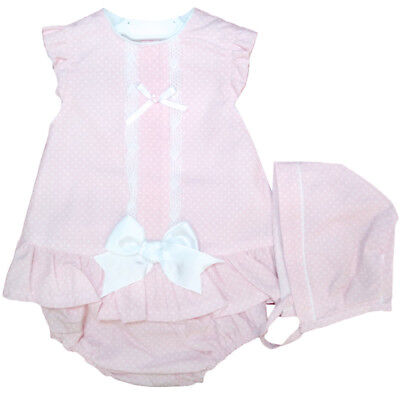 Outfit. Pants and Bonnet Set Beautiful Spanish Baby Girl Dress