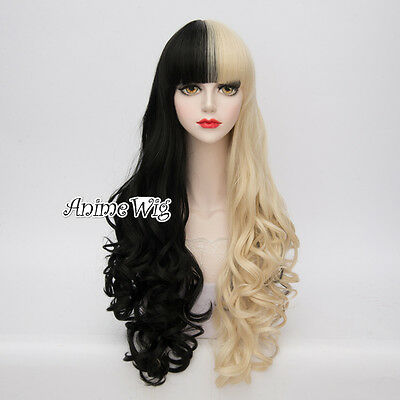 Lolita 80CM Long Black Mixed Blonde Curly Hair Fashion Women Party Cosplay Wig