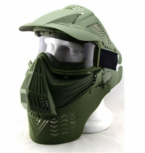 Ajustable Airsoft Wargame Painball Face Gas Mask Goggles /& Neck Protect Green