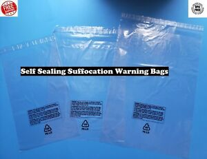 Self Sealing Plastic Bags Suffocation Warning Clear Lip /& Tape 1.5 mil Amazon